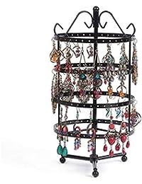 Godagoda 1PC Présentoir Porte-Bijoux Rotatif en Fer pour Boucles d'oreilles Afficher Bracelets Colliers Boucles 144 Trous