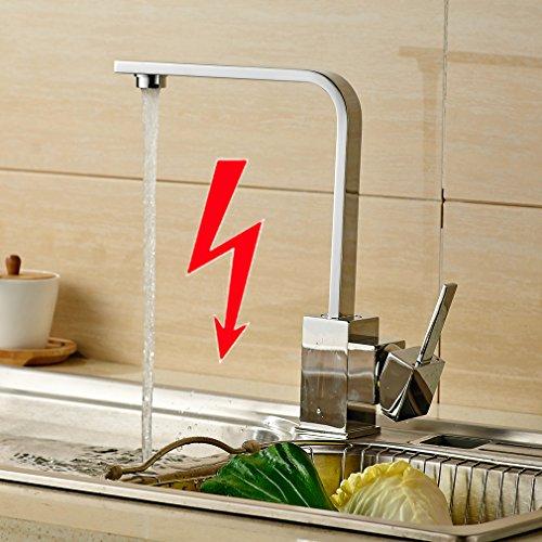 Auralum® Elegant Niederdruck Mischbatterie 360° Drehbar Armatur Wasserhahn Waschtischarmatur Einhebel Wasserfall Einhandmischer für Spüle Küche