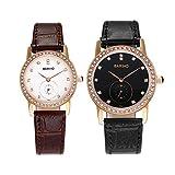 Hongboom di lusso in vera pelle Band orologio da polso da uomo e da donna casual analogico al quarzo zircone coppie dell' orologio 30m impermeabile
