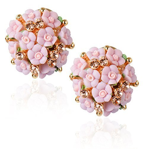 Shining Diva Fashion Pink Floral Gold Plated Stud Earrings for Women
