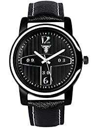 Traktime New Edge Analog Black Dial And Leather Strap Wrist Watches For Men