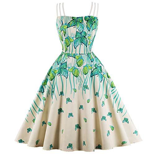 WDBXN Butterfly Print Vintage Dress Frauen Green Leaf Printed Sommerkleider Retro 50S Partykleid 4XL,Green,S