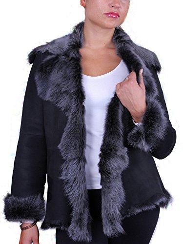 Schwarz Silber Damen-Frauen weiche Echt Toscana Wildleder Schaffell Leder Jacken Mantel (Small 8)