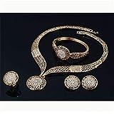 4 Pcs Crystal Jewelry Set Golden Chain Necklace Bracelet Ring Teardrop Earrings Set Wedding Jewellery for Women Girls Bridal