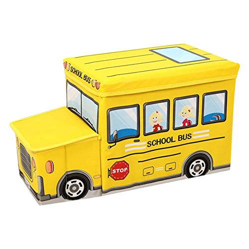 KIOPS Boîte Rangemen Jouets Enfant, Deux Compartiment pour Jouets Livres Vêtements, Solide Banquette de Rangement, Prix Usine Direct, Maximale: 50kg (Bus Scolaire)