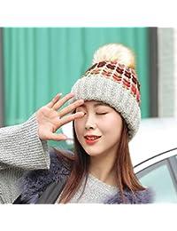 FUWUX Home Sombrero de Lana de Bola de Pelo de Color cálido para el otoño e  Invierno de Las Mujeres bf6d0702434