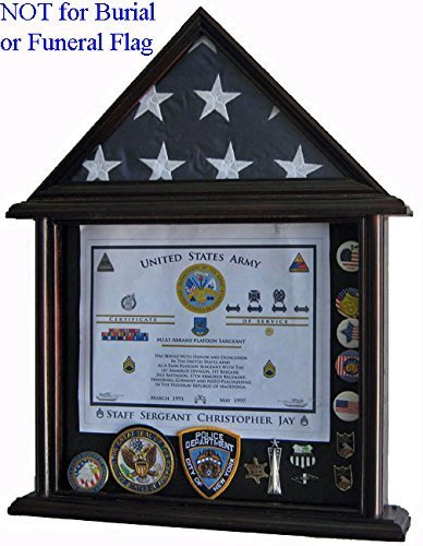 3' X 5' Flag Display Case - Solid Wood, Mahogany Finish (FC11V-MA) by Displaygifts.com Display Cases at Factory Direct (Flag Display-box)
