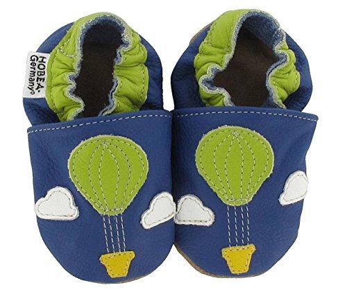 Baby Krabbelschuhe Jungen  von HOBEA-Germany, Schuhgröße:16/17 (0-6 Monate), Modell Schuhe:Heißluftballon (Shoes Kinder-blue Suede)