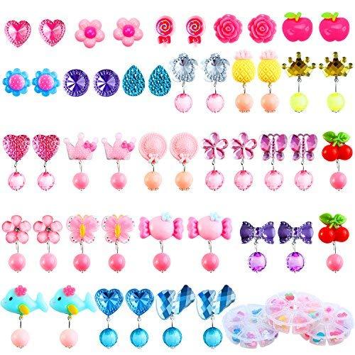 Aneco 24 Paar Clip-on Kristall Ohrringe Mädchen Spielen Ohrringe Prinzessin Clip auf Ohrringe Set für Party Gefallen Verpackt in 3 klaren Boxen mit Verschiedenen ()
