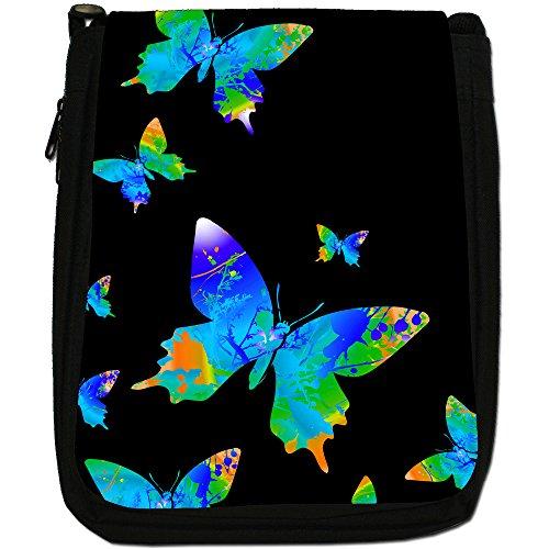 Borsa di tela a tracolla con farfalle e schizzi di colori arcobaleno, nera Blue Rainbow Splash Butterflies