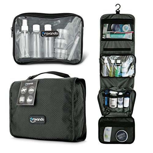 TRAVANDO ® Premium Kulturtasche zum Aufhängen + transparente Reißverschlusstasche / Kosmetiktasche + 7 Behälter für Flüssigkeiten | faltbarer Kulturbeutel für Herren und Damen (grau-oliv)