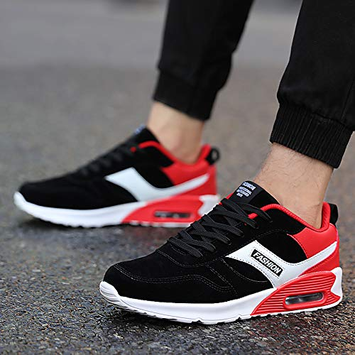 Jugend Rot Leder Kinder Schuhe (LOVDRAM Männer Schuhe Mode Kissen Schuhe Jugend Mode Studenten Casual Laufschuhe Jungen Sportschuhe, Schwarz Rot, 40)