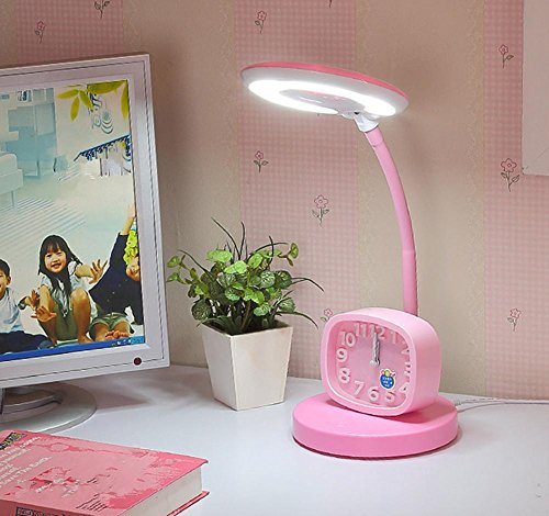 HHORD Touch-Schreibtisch Lampe Auge Schutz Schreibtisch College Student Schlafzimmer Nachttisch Lampe Wecker Kinder Lernen Leselampen Schreibtisch Lampe, Business Leder-wie LED Tischlampe , 2 Baldachin Schutz Uhr