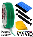 Knifeless Vinyl Wrap Cutting Tape Finishing Line 10M Plus 3M Toolkit (Blue Applicator Squeegee, Yellow Detailed Squeegee and Black Felt Edge Decals) by VViViD