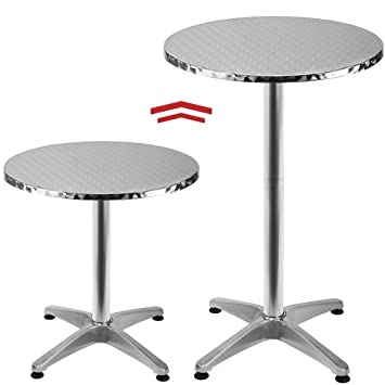 Round Bistro Bar Table Aluminium Bar Table with 2 Adjustable