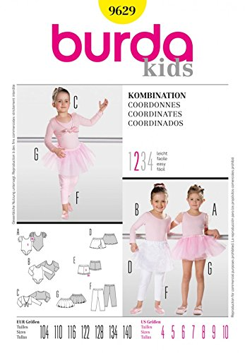 Burda 9629 Schnittmuster für Kinder, Ballett-Kombination, Gr. 104 - 140 (Wrap-around-muster Hose)