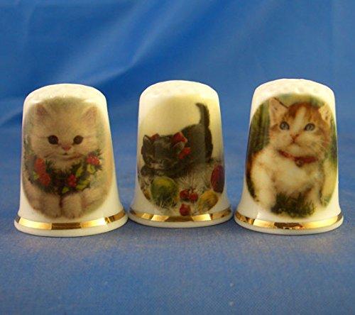 Porcelana China colección de dedales Juego de tres gatos de Navidad