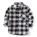 OCHENTA Hemden Jungen Langarm Plaid Kariert Freizeithemd E004 Schwarz Weiß Asiatisch 120cm-(DE 114cm)