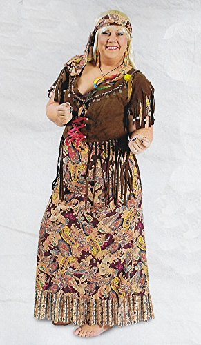 Hippiekleid lang Damenkostüm Hippie Sunny bis Gr. 52-54 (52/54) (Weibliche 70er Jahre Kostüme)