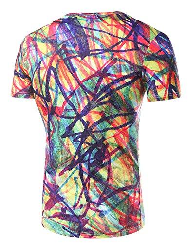YCHENG Unisex Stilvolle Beiläufige Entwurf 3D-Druck-Muster Kurzarm T-Shirt mit Bunt 1102-X