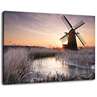 Covered 60x40 cm painting on canvas, huge XXL images completely finished and framed with stretcher, Art print on wall picture with frame, cheaper than painting or picture, no posters or poster: Windmill on a frosty morning format
