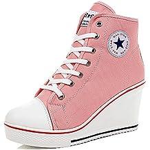QZBAOSHU Mujer Adelgazar Zapatos Sneakers para Caminar Zapatillas Aptitud Cuña Plataforma Zapatos 34 EU Caqui WSJuXfbT