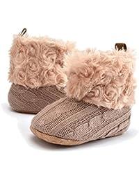TININNA Zapatos Botas Invierno Cálido Para Bebé Niños Niñas Mantenga Cálida Nieve Suave Suela Botas de Cuna Suave Zapatos-Caqui