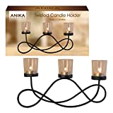 Anika Twisted Metal 3-Candle or Tealight Mantle or Table Decoration Centrepiece, Black