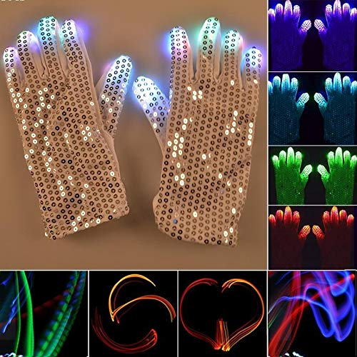 Xiaochou@sl 1 Paar Pailletten Glowing Gloves LED-Blitzhandschuhe Halloween, Weihnachten und anderes Festivalbedarf Tanz- und Partybedarf Dekoration