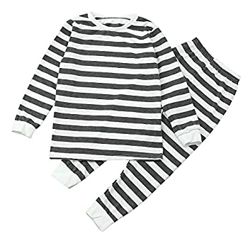 Weant Family Matching Christmas Pajamas Set Father Mother Newborn Kids Boy Girl Christmas Clothes Sets Striped Romper Jumpsuit Tops+ Pants (4 Years, Gray) 0