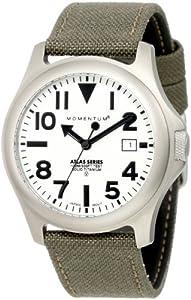 Momentum Atlas TI - Reloj analógico de caballero de cuarzo con correa textil verde - sumergible a 100 metros de Momentum