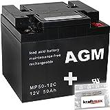 1x AGM 12V / 50Ah Blei-Akku - MP50-12C [ M6 - Innengewinde ] Zyklenfest inkl. 2x Original Kraftmax Anschluß-Adapter