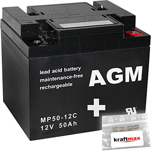 2x AGM 12V / 50Ah Blei-Akku - MP50-12C [ M6 - Innengewinde ] Zyklenfest inkl. 2x Original Kraftmax Anschluß-Adapter