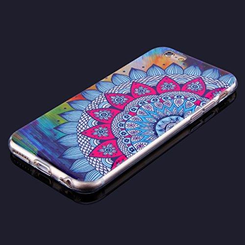 Cover iPhone 6 Plus/iPhone 6s Plus (5.5), Custodia iPhone 6 Plus/iPhone 6s Plus (5.5), EUWLY Trasparente TPU Case con Colorate Dipinto Modello Morbida Flessible in Silicone Custodia Cover [Shock-Abs Mandala