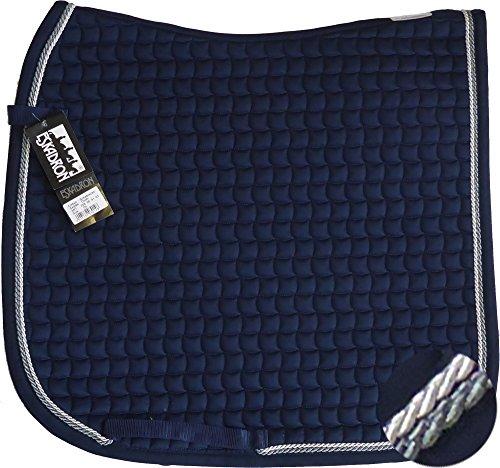 ESKADRON Cotton Schabracke navy, 2fach Kordel anthrazit/silberfarben, Form:Dressur
