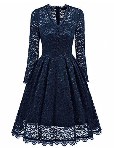 Bright Deer Damen Langärmliges Midi-Ballkleid aus Spitze mit V-Ausschnitt, Ausgestelltes Kleid...