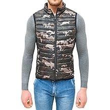 AK collezioni Giubbotto smanicato uomo militare mimetico slim fit giacca gilet casual