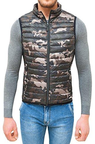 AK collezioni Giubbotto smanicato uomo militare mimetico slim fit giacca gilet casual (xxxl)