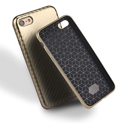 Phone case & Hülle Für iPhone 6 / 6s, Artistic Carbon Fiber Texture Soft TPU Schutzhülle Back Cover ( Color : Black ) Gold