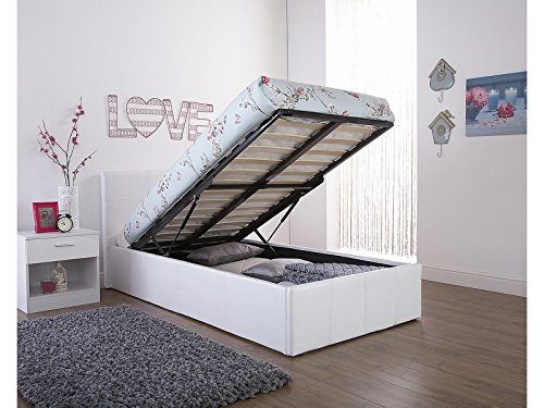 Lift Up Beds Storage : Caspian ottoman gas lift up storage bed white ft small