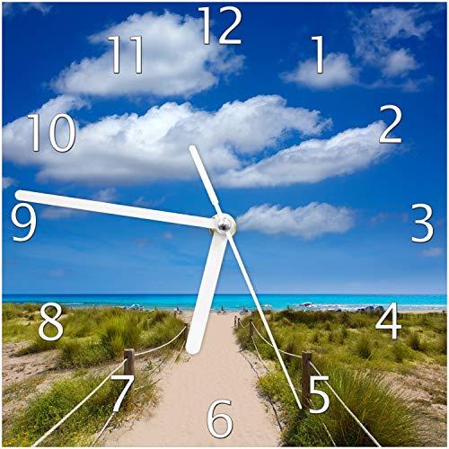 Wallario Glas-Uhr Echtglas Wanduhr Motivuhr; in Premium-Qualität; Größe: 20x20cm; Motiv: Sandweg zum blauen Meer mit blauem Himmel