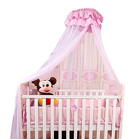 Icegrey Betthimmel Baldachin Kinder Himmel Für Babybett Himmelbett Insektenschutz Mückennetz für Kinderbetten Mit Klemme Himmelstange Schleierhalter Rosa