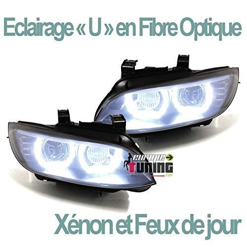 europetuning - 04761 - PHARES FEUX CELIS NOIRS ECLAIRAGE EN U SERIE 3 E92 & E93 COUPE CABRIOLET PHASES 1 AU XENON
