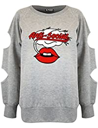 Be Jealous Womens Ladies Anti Social Lips Fleece Cut Out Long Sleeve Baggy Sweatshirt Top UK Size 6-14