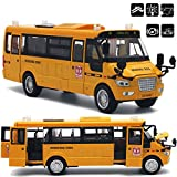 Autobús escolar fundido a troquel de aleación grande con puertas / luces / sonido que se pueden abrir como regalos de Navidad