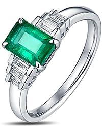 Epinki 18k Oro Anillos para Mujer Rectángulo Anillo de Diamante Anillos Compromiso con Blanco Verde Diamante