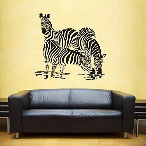 Zebra Wall Sticker Zebre Aufkleber Cebra Poster Vinyl Wall Art Decals Pegatina Decal Decor Wandbild Wild Animal Sticker gelb 80x86cm (Kennzeichenhalter Zebra)
