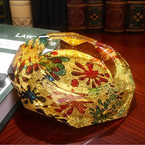 Aschenbecher Living Home Goldene Sonne Blumenmuster Achteck Helle Farbe Stil Kristallglas Mode Kreative Persönlichkeit Geschenke (Größe: 18 * 18 * 4 cm) (Aschenbecher Sonne)