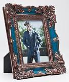 KARE Bilderrahmen Blue Versailles in versch. Größen zur Auswahl, Foto-Format: 13 x 18 cm, Maße: ca. 26,5 x 21,5 x 4 cm, Material: Polyresin. shabby Kitsch-Barok-Antik-Look, Fotorahmen zum Aufstellen, Größe:groß