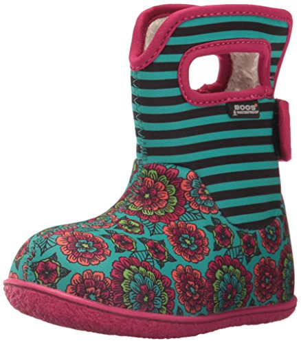 Bogs Baby Pansy Stripe Snow Boot, Emerald Multi, 6 M US Toddler Toe Waterproof Wellington Boot